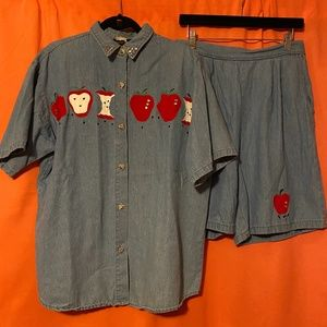 1990s Forever USA Denim Apple Play Suit